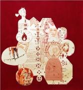 Tennbroderist, är itvivelaktigt en mycket gammal konst (Tin embroidery is undoubtedly a very old art form), 2006, mixed media on paper