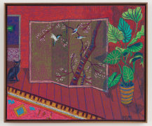 Room with Cherry Blossom Screen & Moroccan Rug, 2019, oil stick, oil pastel & Flashe on upholstery fabric