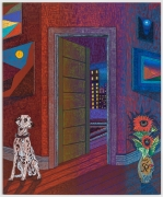 NYC Interior with Dalmatian and Miro Vase, 2021, oil stick, oil pastel, and Flashe on linen