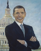 Barack Obama, 2008, oil on linen