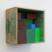 Elegy #1, 2019, wooden box, cardboard boxes, Flashe acrylic