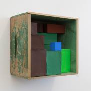 Elegy #1, 2019, wooden box, cardboard boxes, Flashe acrylic