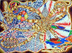 Situation, 2002, color pencil on paper