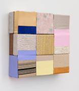 Horizontal Color, 2019, wooden blocks, shiny dress fabric, paper, Flashe acrylic