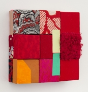 A luxury of red, 2018, wooden blocks, dress fabric, Japanese fabric, red scarf, paper, Flashe acrylic