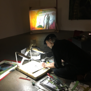 Still from Tom Thayer's performance on September 6, 2019 at Derek Eller Gallery, New York