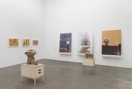 Genesis Belanger, Melissa Brown, Roy De Forest, Mimi Gross, curated by Dan Nadel, installation view at Derek Eller Gallery, New York