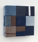 Aspects of denim #3, 2016, wooden blocks, denim, work clothes, Japanese fabric, paper, Flashe acrylic