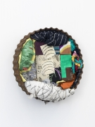 Pie, 2014, found metal, wooden blocks, dress fabric, t-shirt fabric, china, marker on muslin, Flashe, house paint, oil pastel
