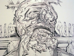 Darwin Statue (Survival of the phattest), 2005 (detail)     , ballpoint pen on paper