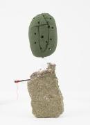 Driftloaf (Green Whole Loaf), 2015, concrete, papier-mâché, bread, paint,nail, thread, pebble