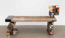 Bench, 2019, wood, metal, blockers