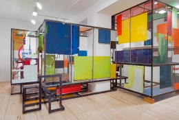 Good Weather (Glass House), 2014, glass, steel, screenprint ink, acrylic and latex paint, construction adhesive, wood floor, lights, wires