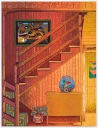 Interior with Eddie Arning, Beta Fish, & Mexican Vase, 2021, oil stick, oil pastel, andFlashe on burlap over canvas