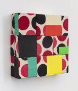 Dot, 2019, wooden blocks, fabric, paper, Flashe acrylic