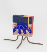 9 Block, 4 Square, 2013, wooden blocks, fabric, paper, Flashe acrylic, house paint, oil pastel