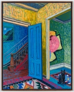 Interior with Elizabeth Murray, 2021, oil stick, oil pastel, and Flashe on linen