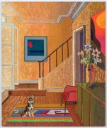 Interior with Husky Pup and Forrest Bess, 2021, oil stick, oil pastel, and Flashe on linen