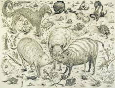 Gossips,2004, ink, graphite, watercolor on paper