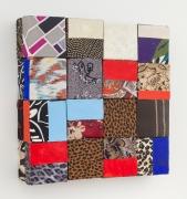 A panoply of fashion, 2017, wooden blocks, dress fabric, paper, Flashe acrylic