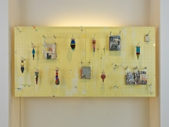 Histrionic, 2013 pegboards, spindles, found yarn scraps, paper books, collage materials (of printed matter and construction paper), plastic bags, neon