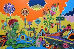 Avenue of Eden, 2002, acrylic, collage on canvas