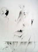 Sisters (The Continuity of Time as an Illusion), 2004, graphite on paper