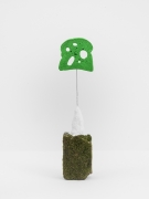 Driftloaf (Green with Moss), 2015, mossy brick, papier-mâché, bread,paint, wire