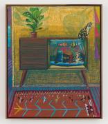 Fish Tank TV, 2019, oil pastel, oil stick, & Flashe, on linen