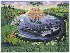 Swamp, 2018, oil, acrylic, Flashe on Dibond