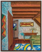Interior with Mose Toliver, 2021, oil stick, oil pastel, and Flashe on linen