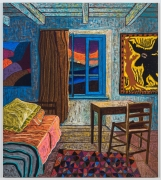 Sunrise with William Hawkins, 2021, oil stick, oil pastel, and Flashe on linen
