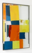 Verticle Horizon (Clown Scape), 2015, glass, steel, screen print ink, block printing ink, acrylic paint, and silicone
