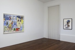 Installation view of Jean-Michel Basquiat Drawing: Work from the Schorr Family Collection at Acquavella Galleries from April 30 - June 12, 2014.