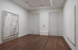 Installation view of White | Black: Works by Miquel Barceló, Louise Bourgeois, Jacob El Hanani, Keith Haring, Rashid Johnson, Robert Longo, Jean Paul Riopelle, Joaquín Torres-García, and Andy Warhol at Acquavella Galleries from August 13 - September 28, 2018.