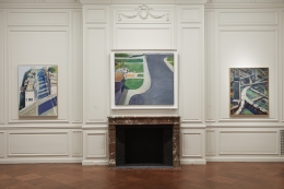 Installation view of California Landscapes: Richard Diebenkorn | Wayne Thiebaud at Acquavella Galleries from February 1-March 16, 2018.
