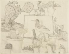 Lucian Freud, Cacti and Stuffed Bird, 1943