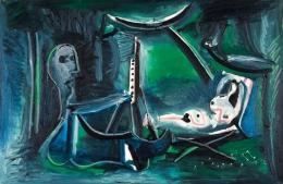 Pablo Picasso Le peintre et son modèle dans un paysage, 1963