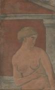Joaquín Torres-García, Desnudo de mujer con frontón [Nude Woman with Pediment], 1926
