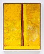 SUN/PIZ, 2017, Acrylic, oil, elastic, and cardboard on canvas