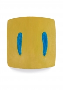 Yellow painting with blue marks
