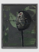 A painting by Markus Lüpertz depicting a decapitated head on a stake