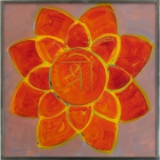 A painting of a red and yellow flower with a mantra symbol at the middle.