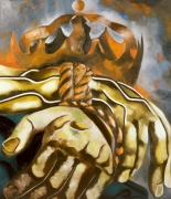 A painting of muscular hands tied together by the wrist. A crown is emerging behind the figure's wrists.