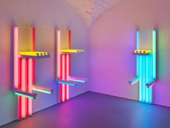 Installation view, Dan Flavin, to Lucie Rie and Hans Coper, master potters, Vito Schnabel Gallery, St. MoritzArtwork © Stephen Flavin / Artists Rights Society (ARS), New York; Courtesy the Estate of Dan Flavin and Vito Schnabel Gallery; Photo by Stefan Altenburger