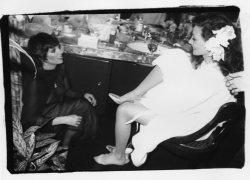 Liza Minnelli with Marisa Berenson on her wedding day, Beverly Hills, 1976