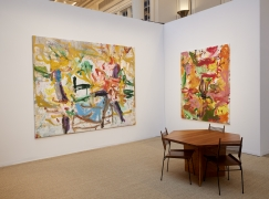 Installation view of oil on canvas abstract flower paintings by Jorge Galindo on view at the Vito Schnabel Gallery booth, Independent Art Fair, 2021