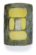 Large Grey Painting with yellow accents