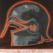 A painting of a 6th century Trojan helmet paired with a fragment from Homer's The Iliad by Francesco Clemente