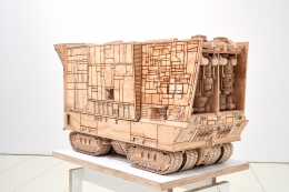 Sandcrawler, 2016-2018 Pyrography on plywood, steel hardware, and mixed media